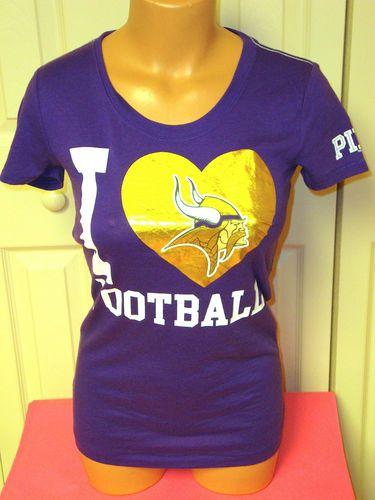 62cef91fa Victoria s Secret PINK Minnesota VIKINGS I LOVE FOOTBALL Bling T Shirt Tee  XS