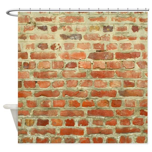 shower curtain looks like brick wall