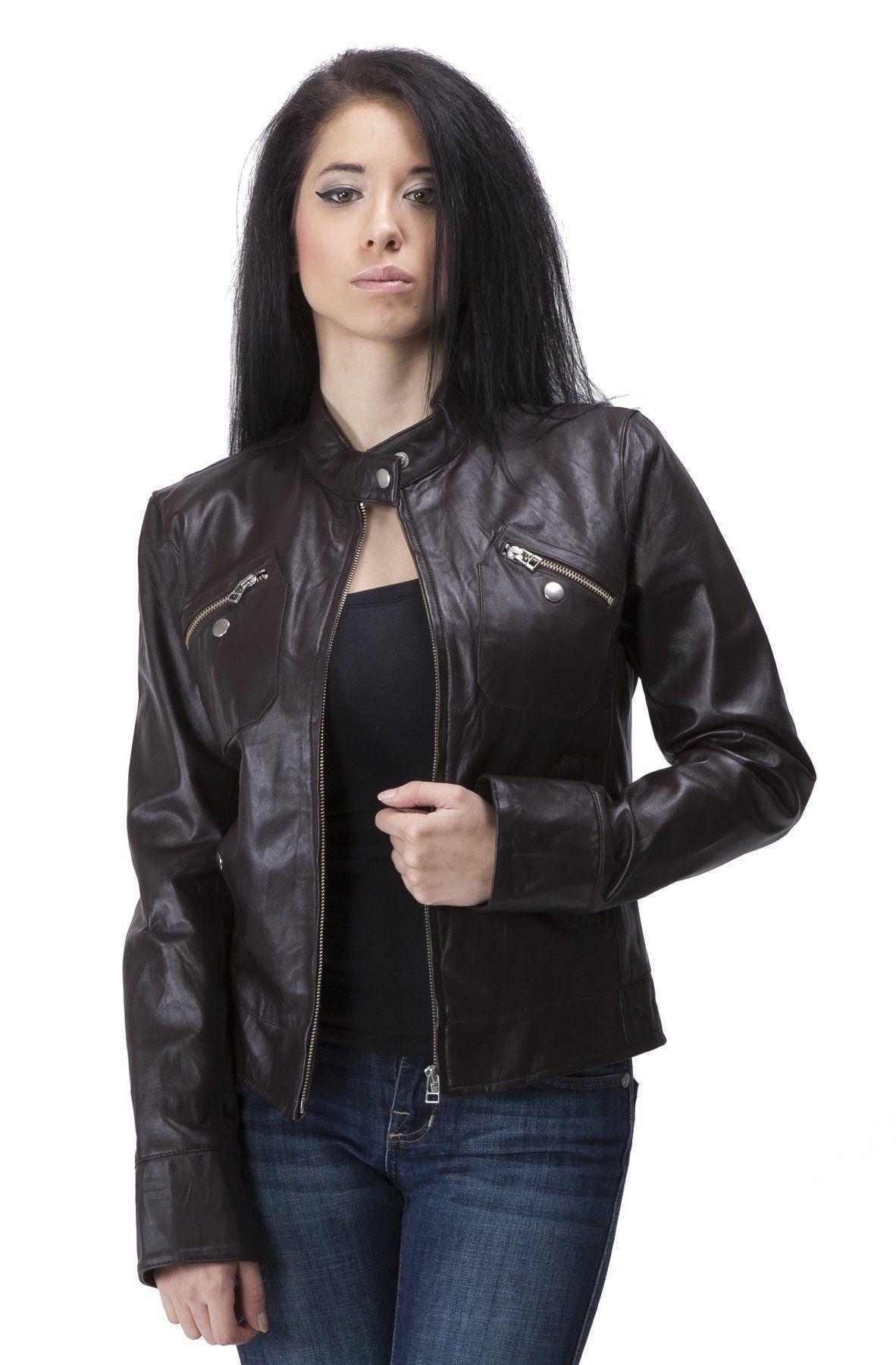 United Face Womens Lambskin Leather Moto Jacket Small