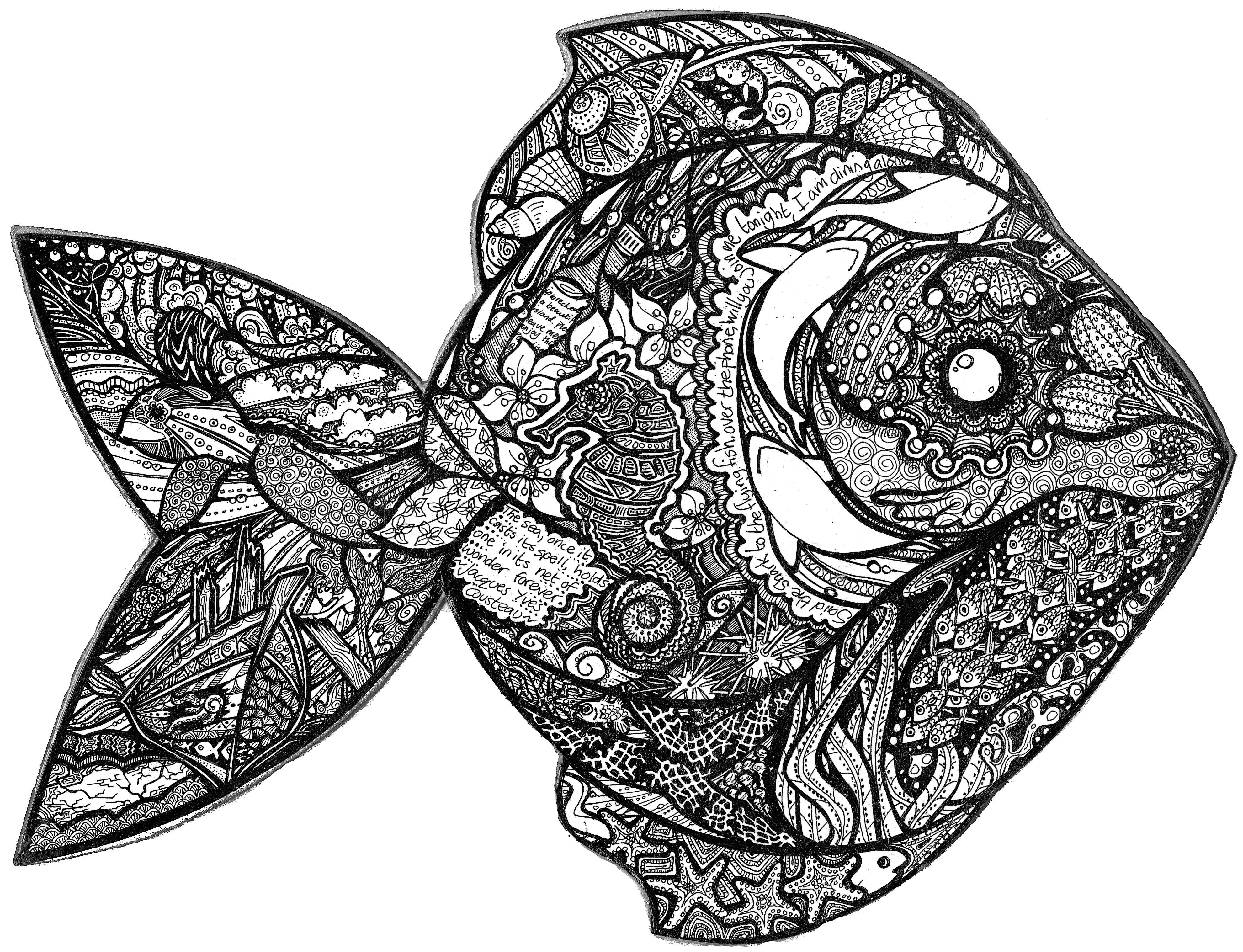 Pen & ink fish illustration with various marine wildlife, wreck and ...