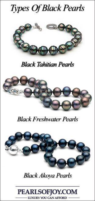 Types of black pearls: Black Tahitian Pearls, Black Akoya Pearls & Black Freshwater Pearls #pearljewelry