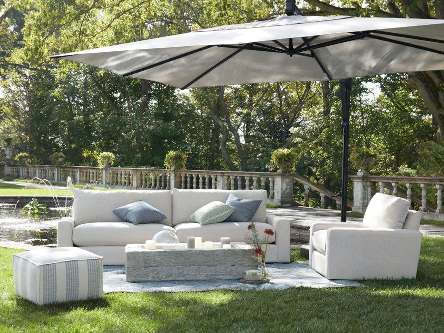 Light Grey Log Rectangle Outdoor Fire, Large Tilting Patio Umbrella