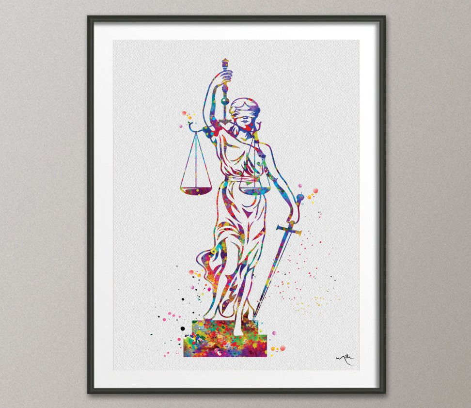 Lady Justice Watercolor Print Scales Of Lawyer Office Decor Wall Art Ebay