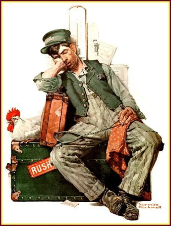 """Asleep on the Job"" by Norman Rockwell"