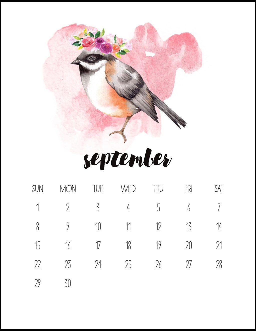 Watercolor September 2019 Printable Calendar Kalendar Dlya