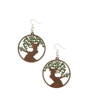 Another great find on #zulily! Natural Wood Tree of Life Drop Earrings #zulilyfinds