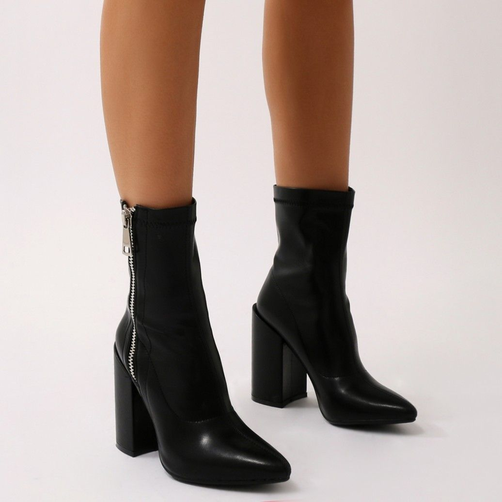 53e61c37139 Renzo Sock Fit Ankle Boots in Black | sapatos | Pointed ankle boots ...