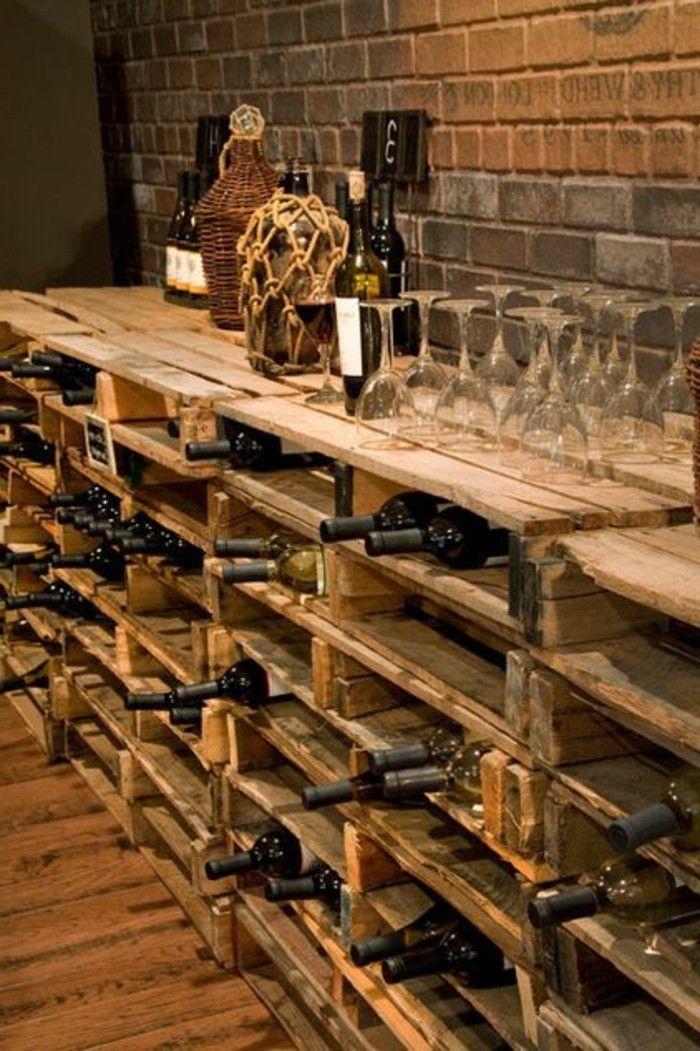Etagere En Palette De Bois Une Bouffee D Inspiration Rustique Etageres A Bouteilles De Vin Amenagement Cave A Vin Deco Maison