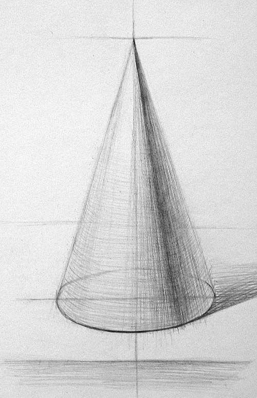 конус тенью с рисунок карандашом