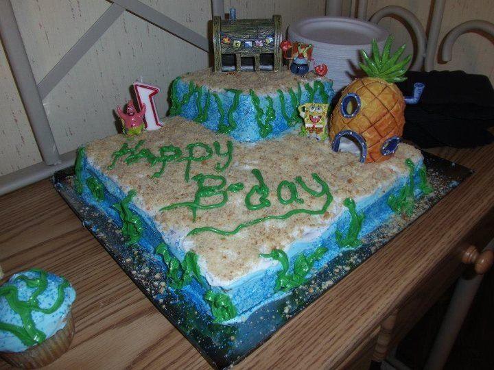 Sensational Spongebob Cake With Fish Tank Decor As Toppers Found At Meijers Funny Birthday Cards Online Elaedamsfinfo