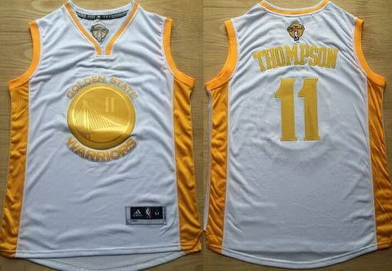 Men's Golden State Warriors #11 Klay Thompson White 2015 Championship NBA Jersey With Commemorative The Finals Patch