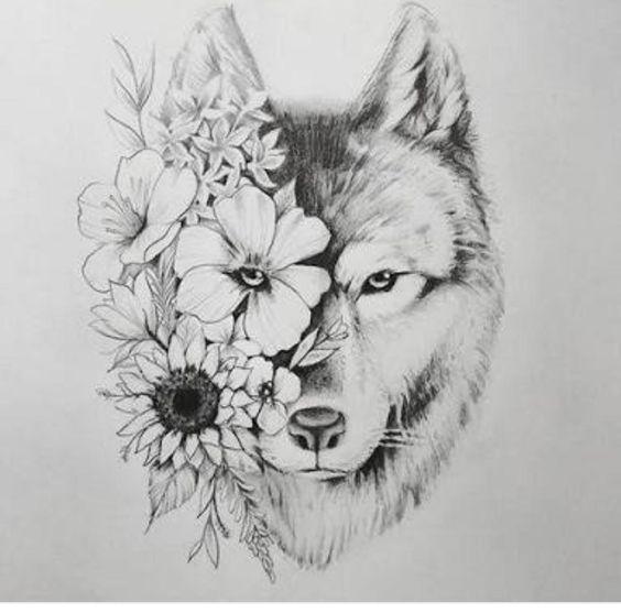 101 Charming Floral Tattoo Ideas Animal Tattoos Wolf Tattoos Wolf Tattoo