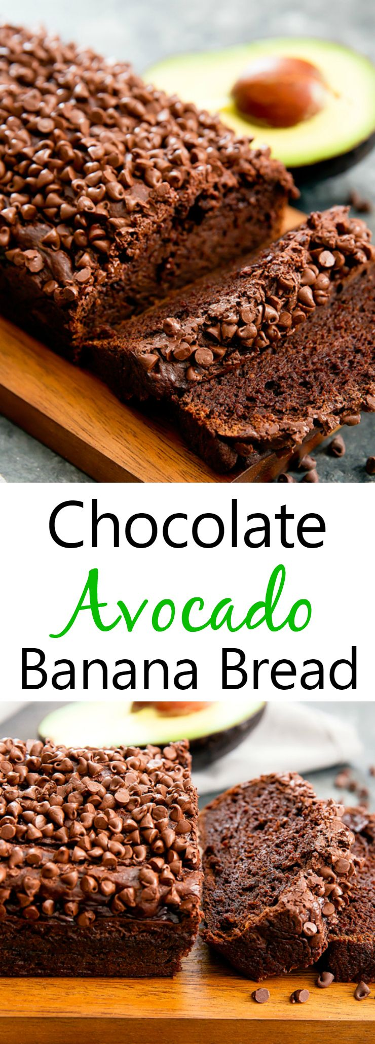 Chocolate Avocado Banana Bread. No oil or butter and everything can be prepared in a blender or food processor.