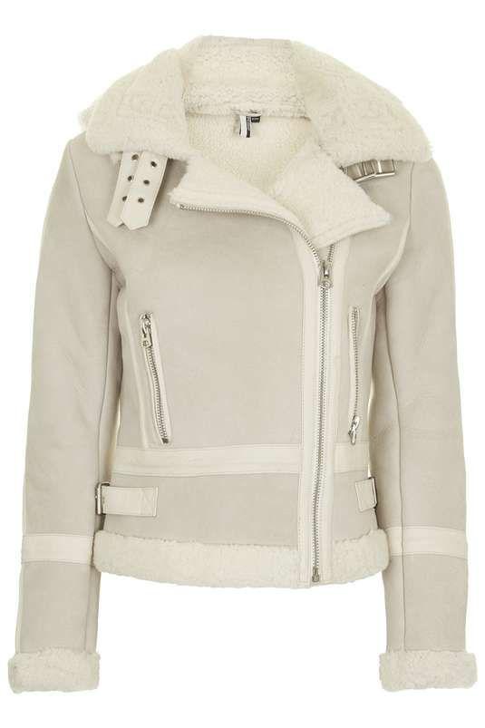 **Hooded Shearling Biker Jacket $850 #topshopshearlingbikerjacket