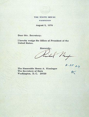 Richard Nixon'S Resignation Letter. People Have Longer Texts To