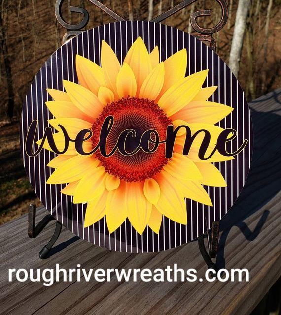 Photo of Sunflower Wreath Sign, Sunflower wreath Accent Sign, Metal Wreath Sign, Aluminum Sign, Wreath Sign with Sunflower, Sunflower Decor
