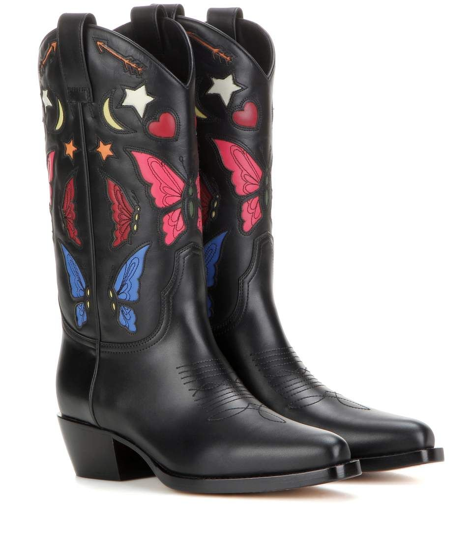 VALENTINO Texan Leather Cowboy Boots. #valentino #shoes #current week