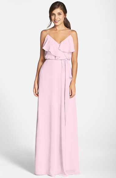 nouvelle AMSALE nouvelle AMSALE 'Drew' Ruffle Front Chiffon Gown available at #Nordstrom