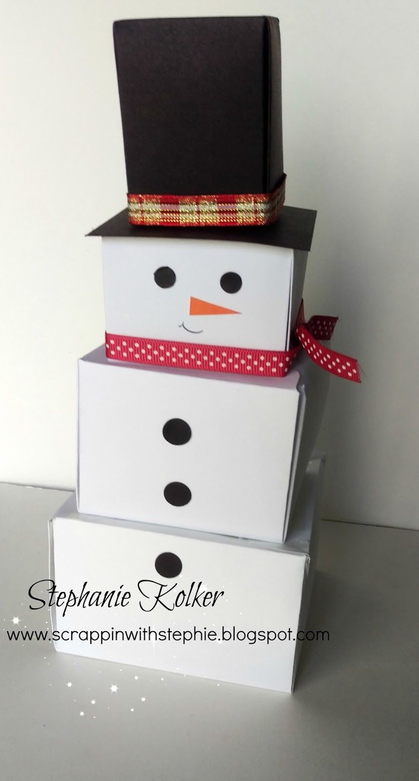 Scrappin With Stephie Box Man Snowman Gift Boxes Created With The
