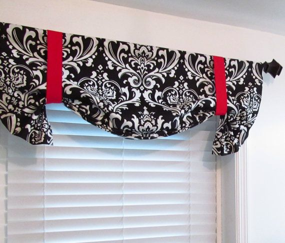 Black White Red Damask Tie Up Valance Lined Curtain Handmade In