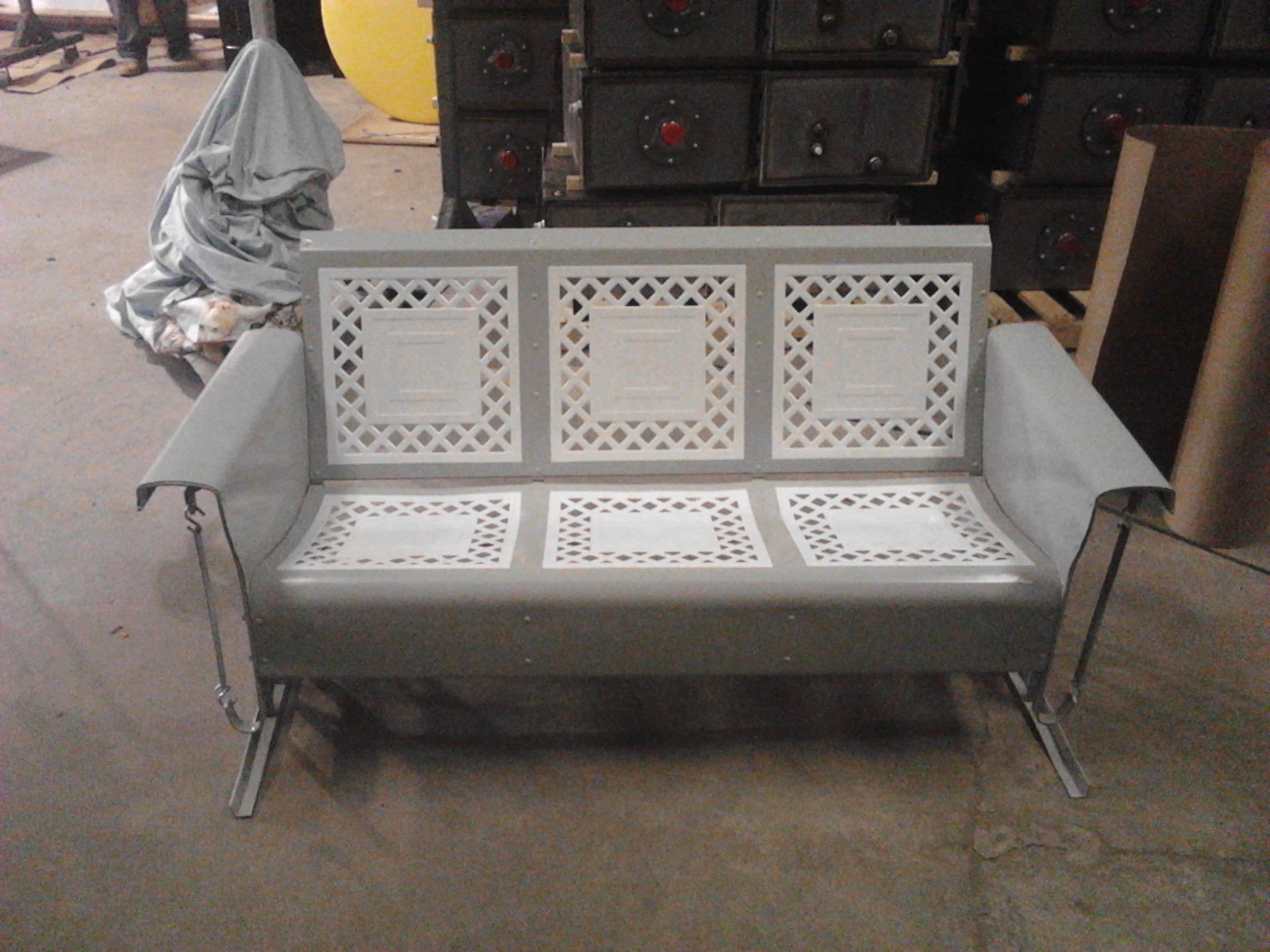 Vintage iron patio furniture - Lattice Style Vintage Metal Porch Glider Powdercoated In Gray Www