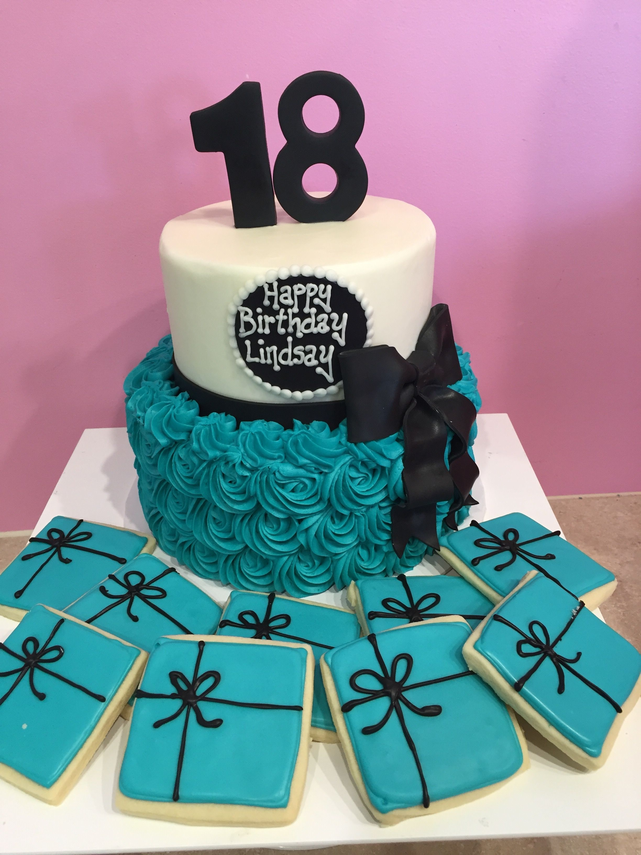 18th Birthday Cake In Blue Rosette With Black Bow And Matching