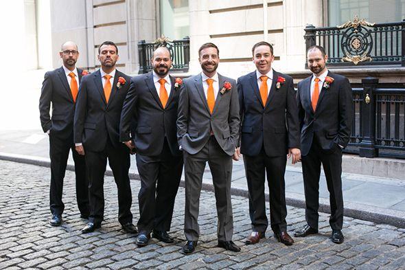 Orange And Grey Wedding Suits
