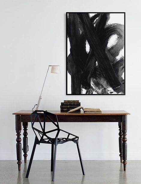 Vintage modern -- I really like the painting in this photograph. It is only of those paitings that is beautiful to look at and seemingly simple in composition. You think you could do it yourself, but you would probably fail when you tried.