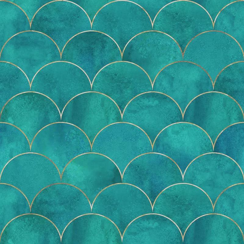 Goncalves Mermaid Fish Scale Wave 10 L X 24 W Peel And Stick Wallpaper Roll Peel And Stick Wallpaper Wallpaper Roll Wallpaper