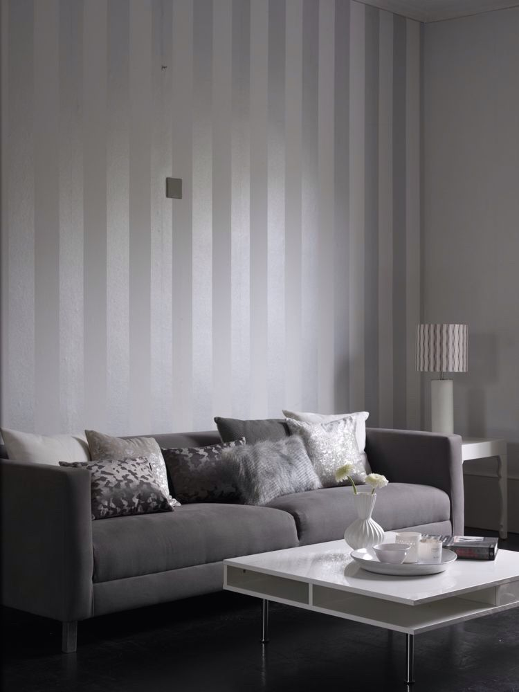 Metallic Grey And White Stripe Wallpaper Design From The Albany Performance Collection