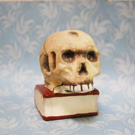 722f68eb4177 Vintage Skull on Book Match Holder Striker Japan Missing Lower Jaw ...