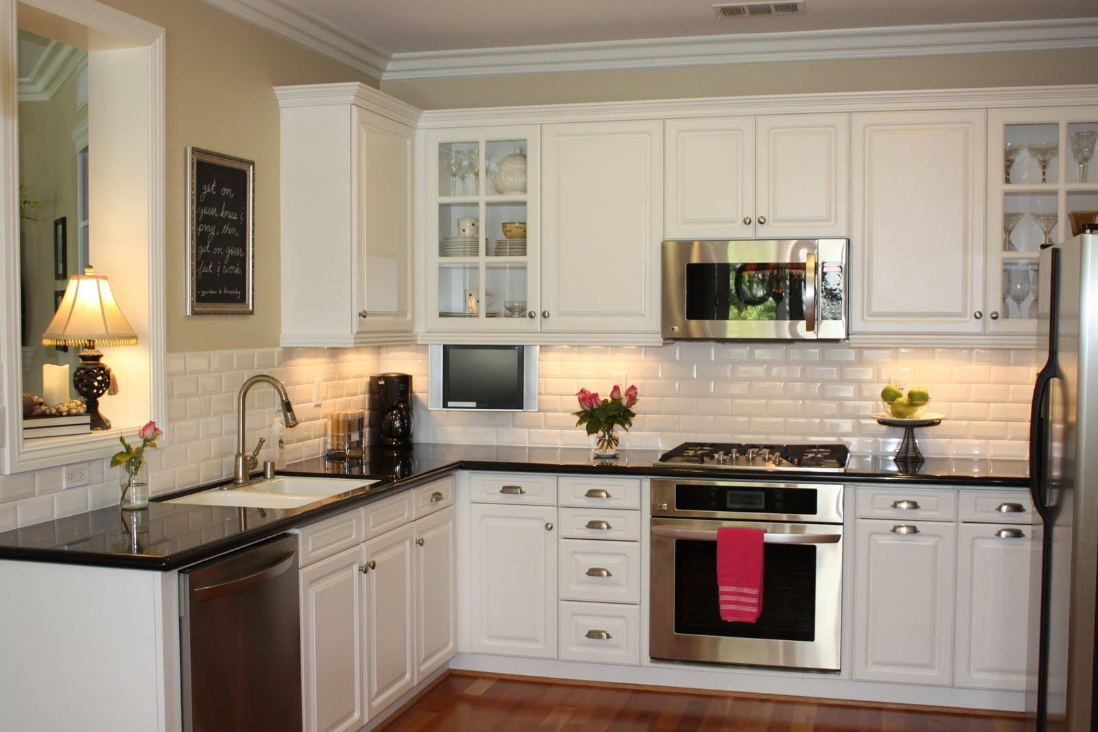Family Room U0026 Kitchen Open Floor Plan. White Kitchen Cabinets. White Subway  Tile. Dark Wood Floors. | 2 Living/Family/Great Rooms | Pinterest | White  Subway ...