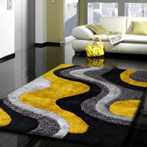 inspirant tapis jaune et gris