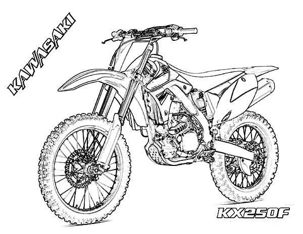 Dirt Bike Kawasaki Kx250f Coloring Page Coloring Sun In 2020 Bike Drawing Coloring Pages Dirt Bike Tattoo