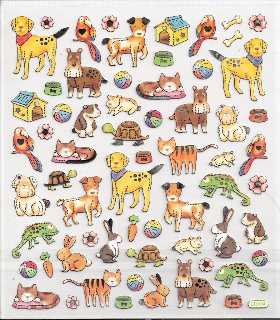 Pet store dog cat hamster stickers silver outlined | eBay