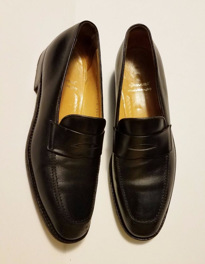 Gravati Mens Italian Loafers Black Leather Slip On Shoes