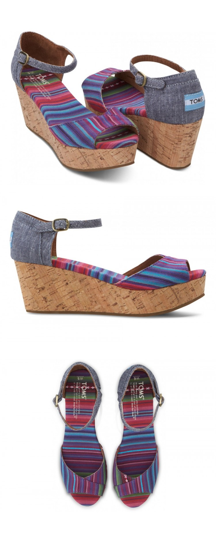 Get that summer look going with these great platform wedges by TOMS.  Pair them with everything from pants to shorts dresses and  skirts.  #Toms #Shoes #Summer #Color