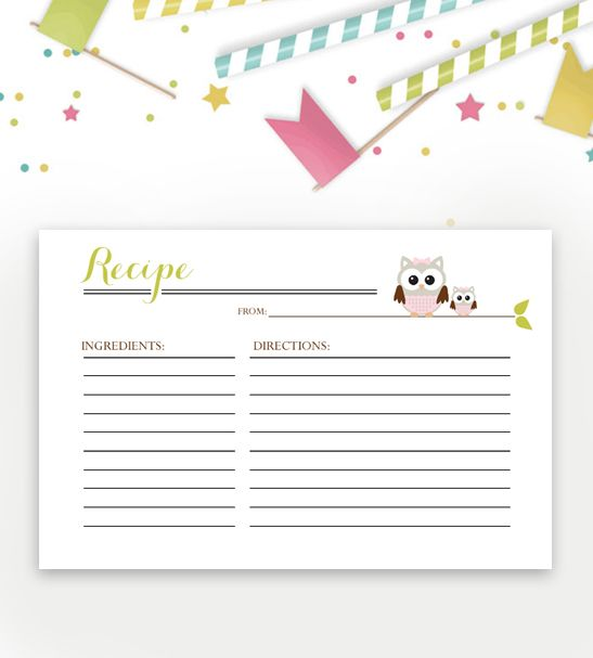 Baby Shower Recipe Card Green Pink Owl  Baby Shower Recipes