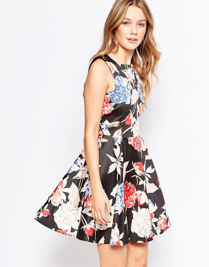 Image 1 ofCloset Floral Midi Skater Dress with Triangle Cut Out Back