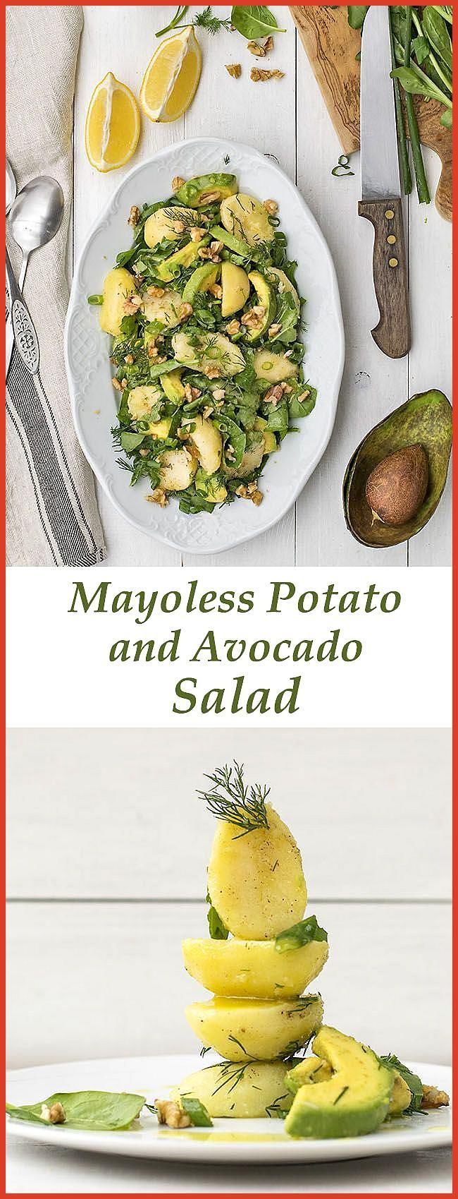 Mayo-less potato 038 avocado salad with greens This mayo-less potato and avocado salad is vegan glu
