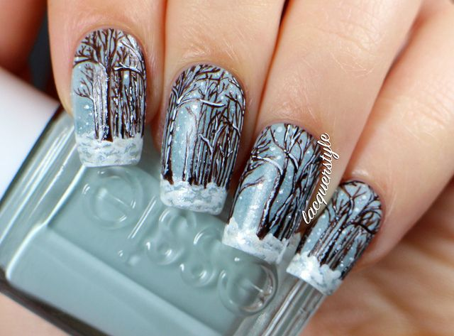 Winter Snow Scene Nail Art By Lacquerstyle Via Flickr Festive