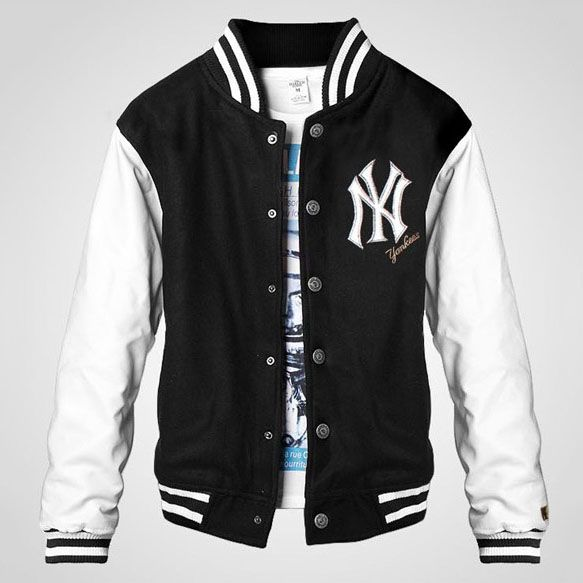 Button NY Leather Sleeve Black Wool Varsity Baseball Jacket For ...