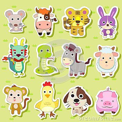 12 Chinese Zodiac Animal Stickers Chinese Zodiac Animal Stickers Zodiac Designs