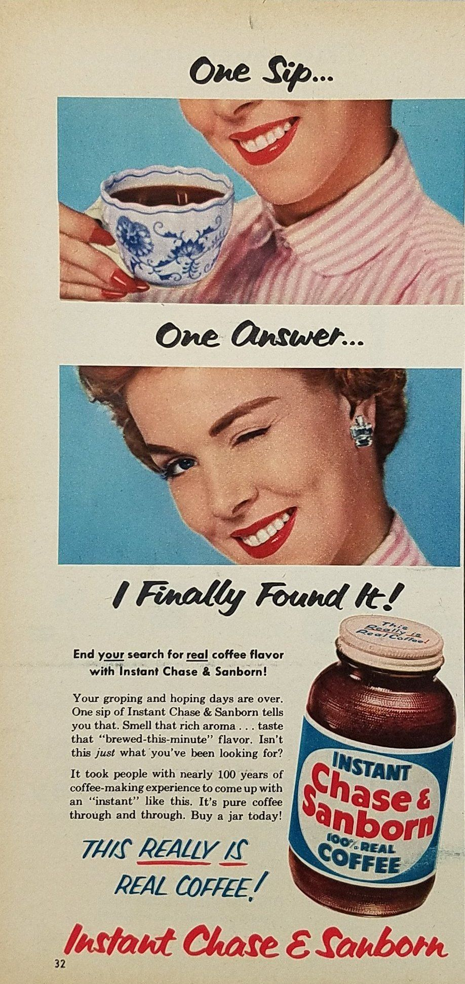 1954 Chase Sanborn Instant Coffee Vintage Ad Woman