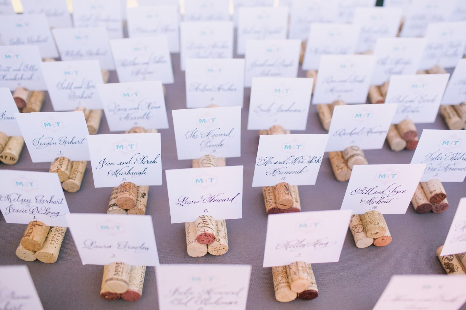 Wine Country Inspired Escort Cards Complete With Wine Cork Holders