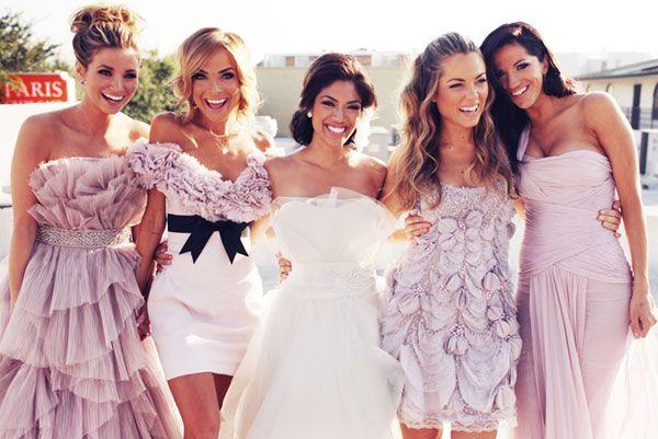 Le Magnifique: a wedding inspiration blog for the stylish bride // www.lemagnifiqueblog.com: Blush Bridesmaids Gowns
