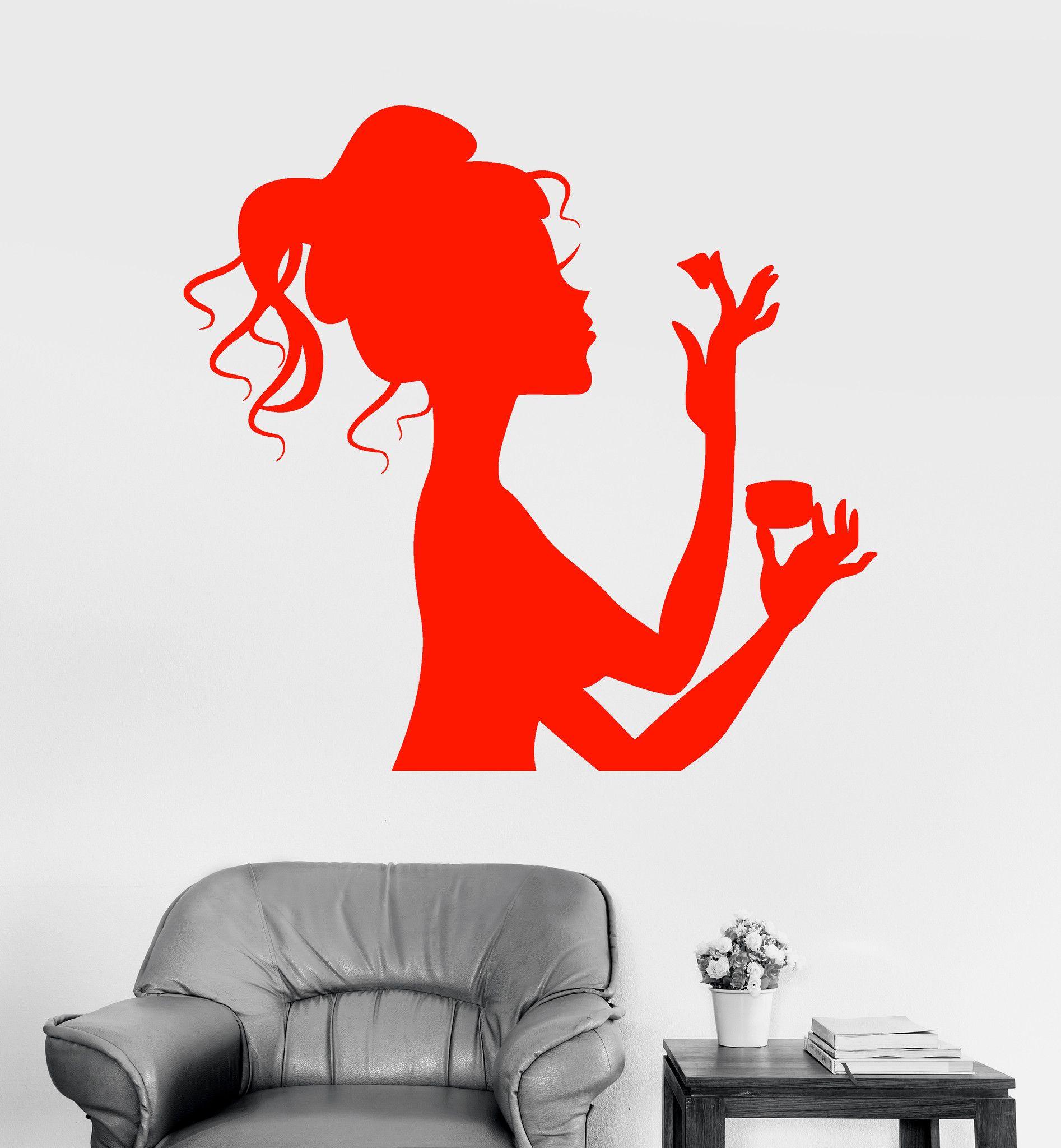 Vinyl Wall Decal Makeup Cosmetics Spa Salon Beauty Woman Girl