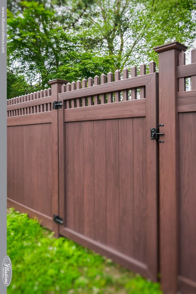 37 Incredible Vinyl Wood Grain Fence Images From Illusions Vinyl Fence Illusions Fence In 2020 Wood Grain Fence Fence Design Privacy Fence Designs