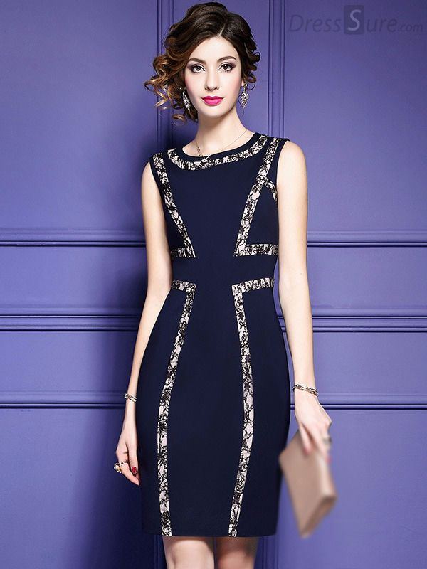 Stylish O-Neck Sleeveless Lace Patchwork Bodycon Dress | Vestidos ...