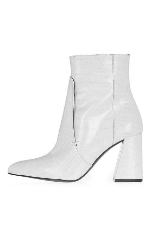 0648f8c686 HAWK Croc Boots White High Heel Boots, White Leather Boots, White Boots,  Leather